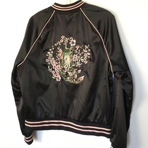 SUZY SHIER Black Satin Bomber with Embroidery L